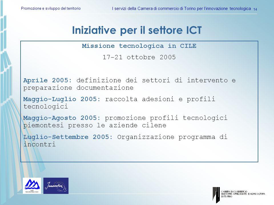 Promozione e sviluppo del territorio I servizi della Camera di commercio di Torino per linnovazione tecnologica 14 Iniziative per il settore ICT Missi