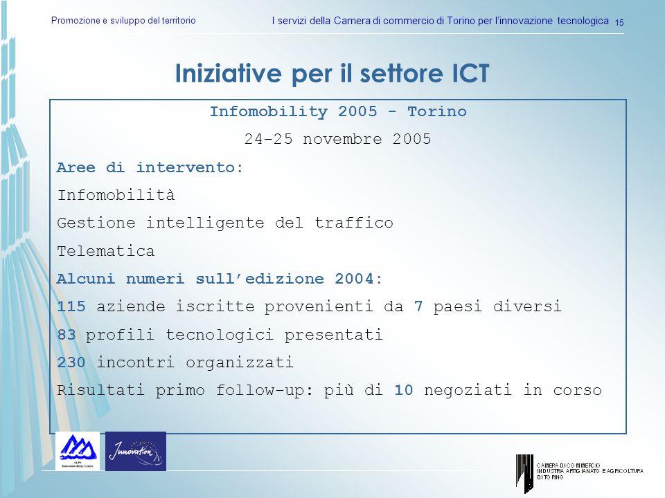 Promozione e sviluppo del territorio I servizi della Camera di commercio di Torino per linnovazione tecnologica 15 Iniziative per il settore ICT Infom
