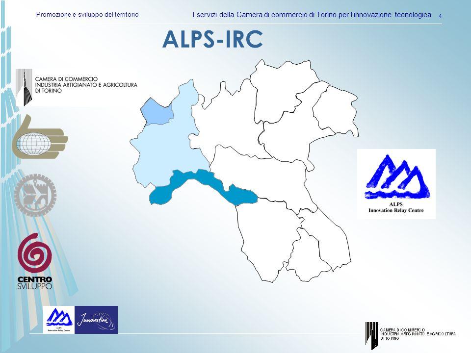 Promozione e sviluppo del territorio I servizi della Camera di commercio di Torino per linnovazione tecnologica 5 60% Cooperazione tecnica 35% Accordi commerciale con assistenza tecnica 12% Cessione di licenza 7% Accordi di tipo manifatturiero 2.5% Joint venture 847 accordi TT (04/2003-03/2005) ALPS IRC 16 casi di successo Alcuni numeri …