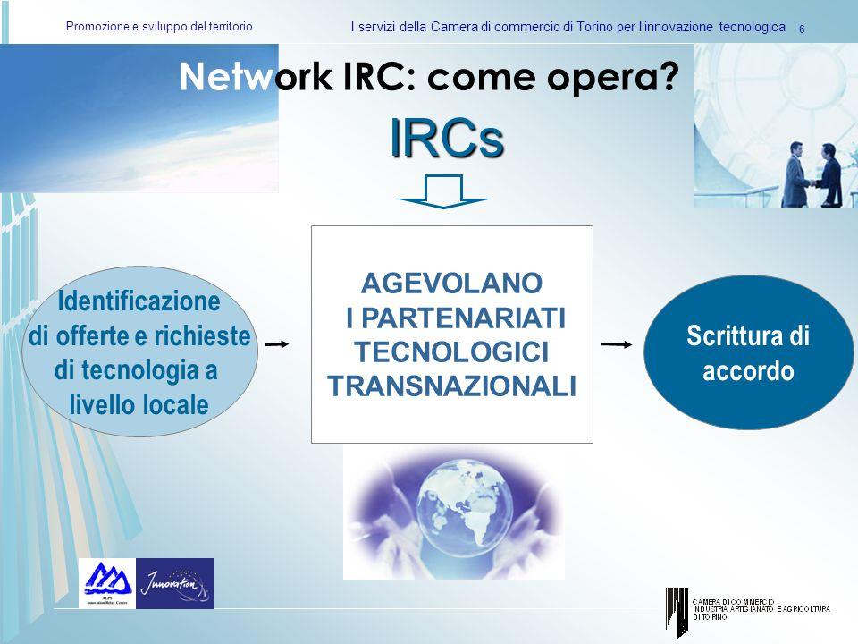 Promozione e sviluppo del territorio I servizi della Camera di commercio di Torino per linnovazione tecnologica 6 Network IRC: come opera? Identificaz
