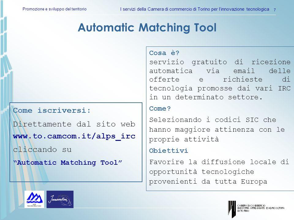 Promozione e sviluppo del territorio I servizi della Camera di commercio di Torino per linnovazione tecnologica 8 Automatic Matching Tool