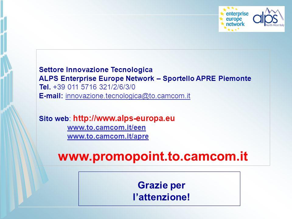 Settore Innovazione Tecnologica ALPS Enterprise Europe Network – Sportello APRE Piemonte Tel. +39 011 5716 321/2/6/3/0 E-mail: innovazione.tecnologica