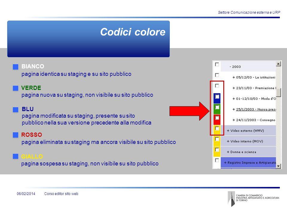 Corso editor sito web Settore Comunicazione esterna e URP 06/02/2014 Codici colore BIANCO VERDE BLU ROSSO GIALLO pagina identica su staging e su sito