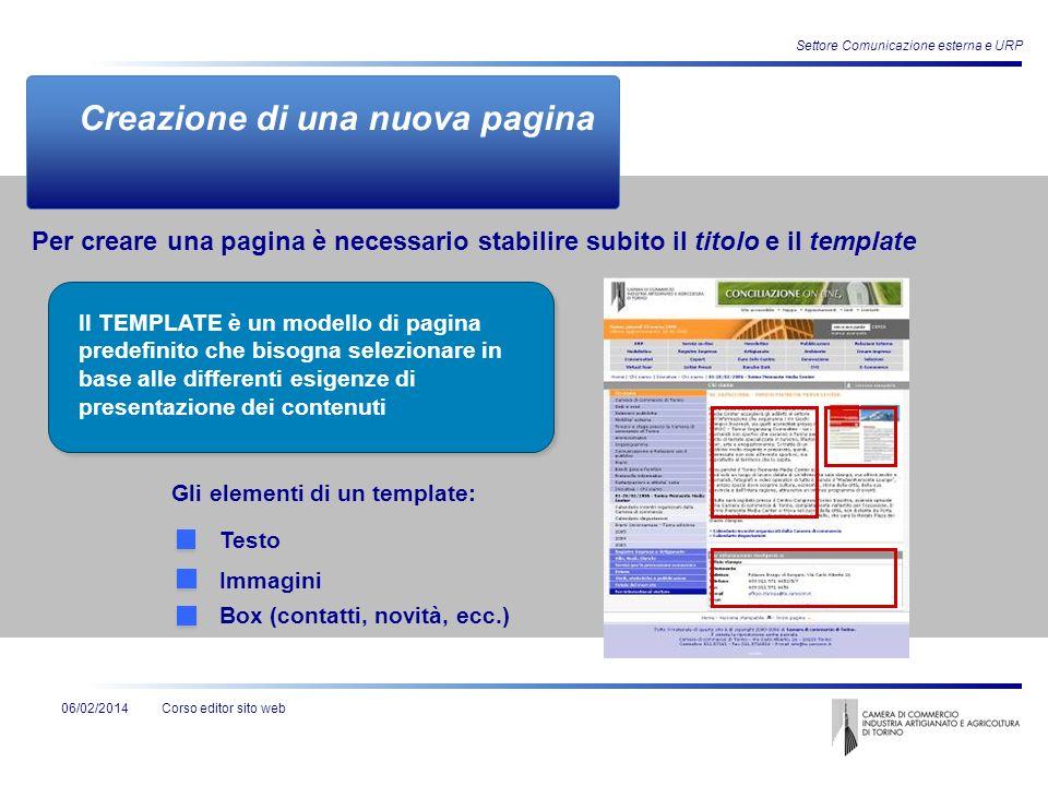 Corso editor sito web Settore Comunicazione esterna e URP 06/02/2014 Creazione di una nuova pagina Gli elementi di un template: Testo Immagini Per cre