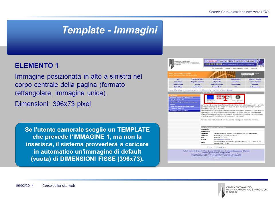 Corso editor sito web06/02/2014 Settore Comunicazione esterna e URP ELEMENTO 1 Immagine posizionata in alto a sinistra nel corpo centrale della pagina