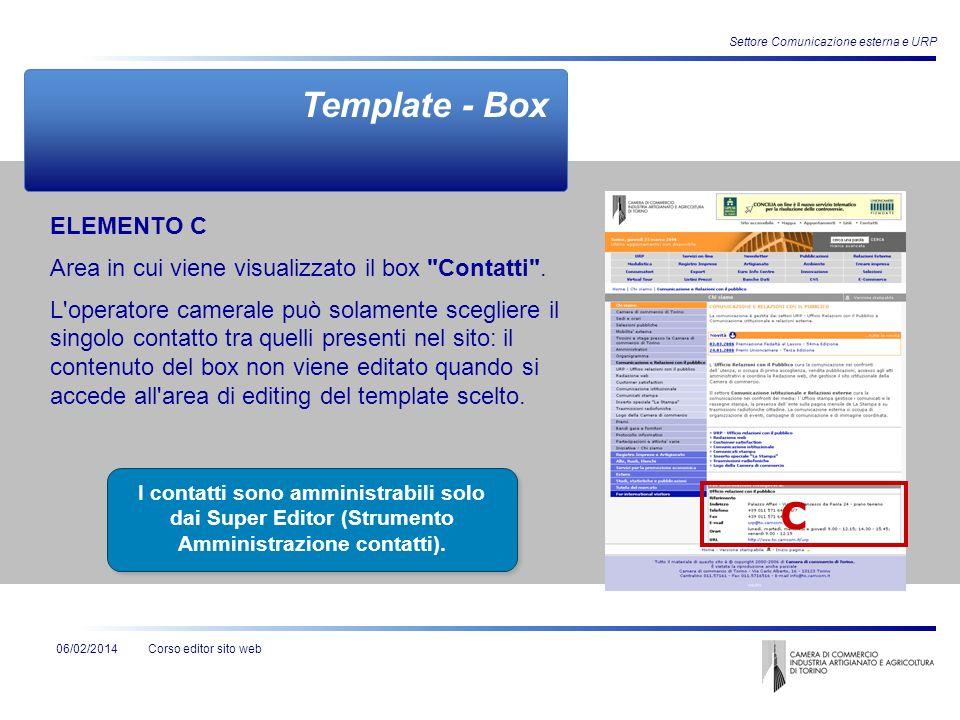 Corso editor sito web06/02/2014 Settore Comunicazione esterna e URP ELEMENTO C Area in cui viene visualizzato il box