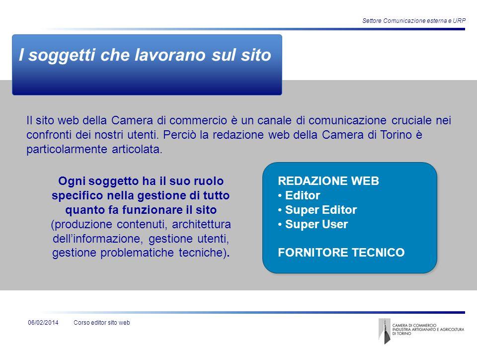 Corso editor sito web06/02/2014 Settore Comunicazione esterna e URP Struttura gerarchica delle pagine MACROAREA SEZIONI Pagina di I livello Pagina di II livello Pagina di III livello Es.: Amministr.