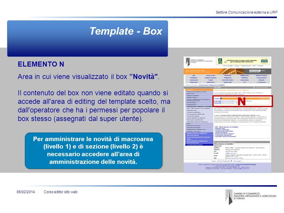 Corso editor sito web06/02/2014 Settore Comunicazione esterna e URP Template - Box Per amministrare le novità di macroarea (livello 1) e di sezione (l