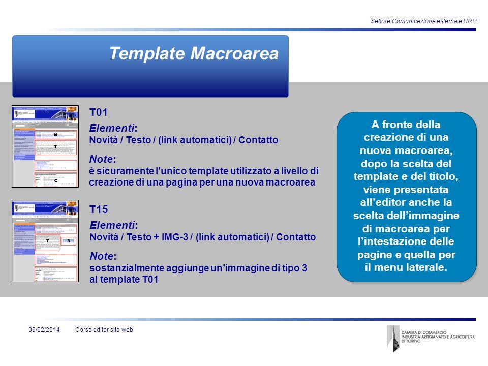 Corso editor sito web06/02/2014 Settore Comunicazione esterna e URP Template Macroarea Elementi: Novità / Testo / (link automatici) / Contatto Note: è