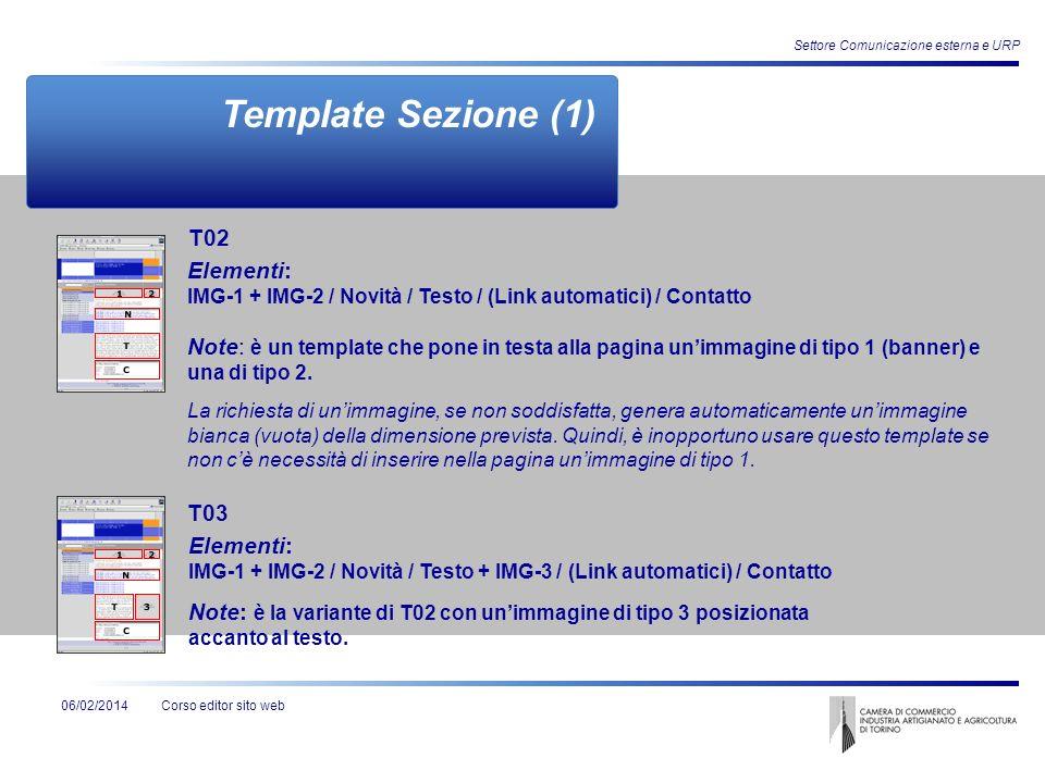 Corso editor sito web06/02/2014 Settore Comunicazione esterna e URP Template Sezione (1) Elementi: IMG-1 + IMG-2 / Novità / Testo / (Link automatici)