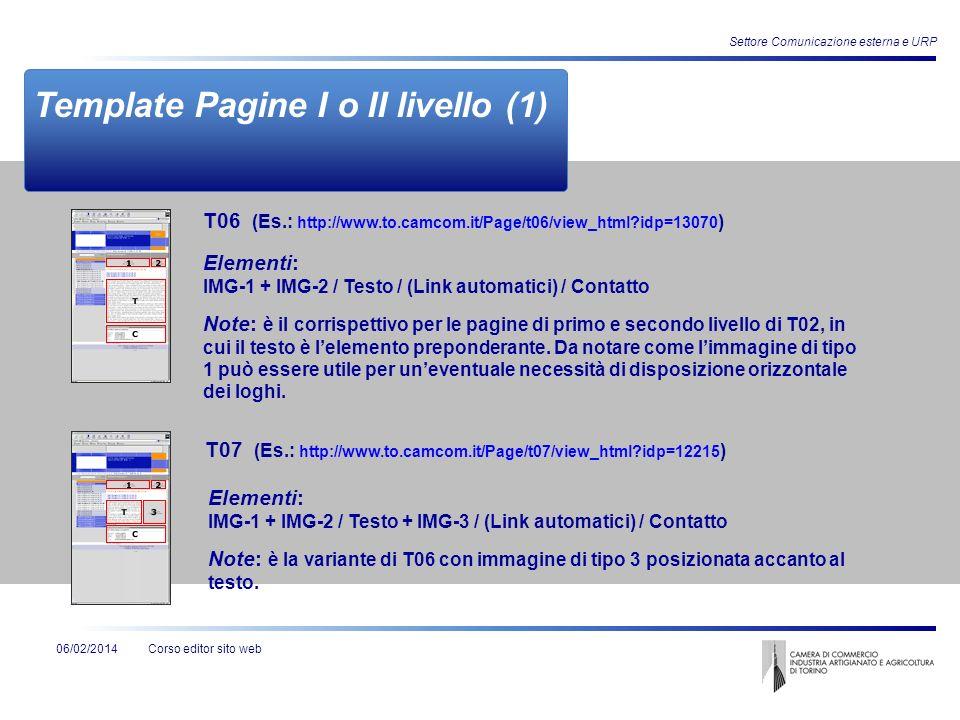 Corso editor sito web06/02/2014 Settore Comunicazione esterna e URP Template Pagine I o II livello (1) Elementi: IMG-1 + IMG-2 / Testo / (Link automat