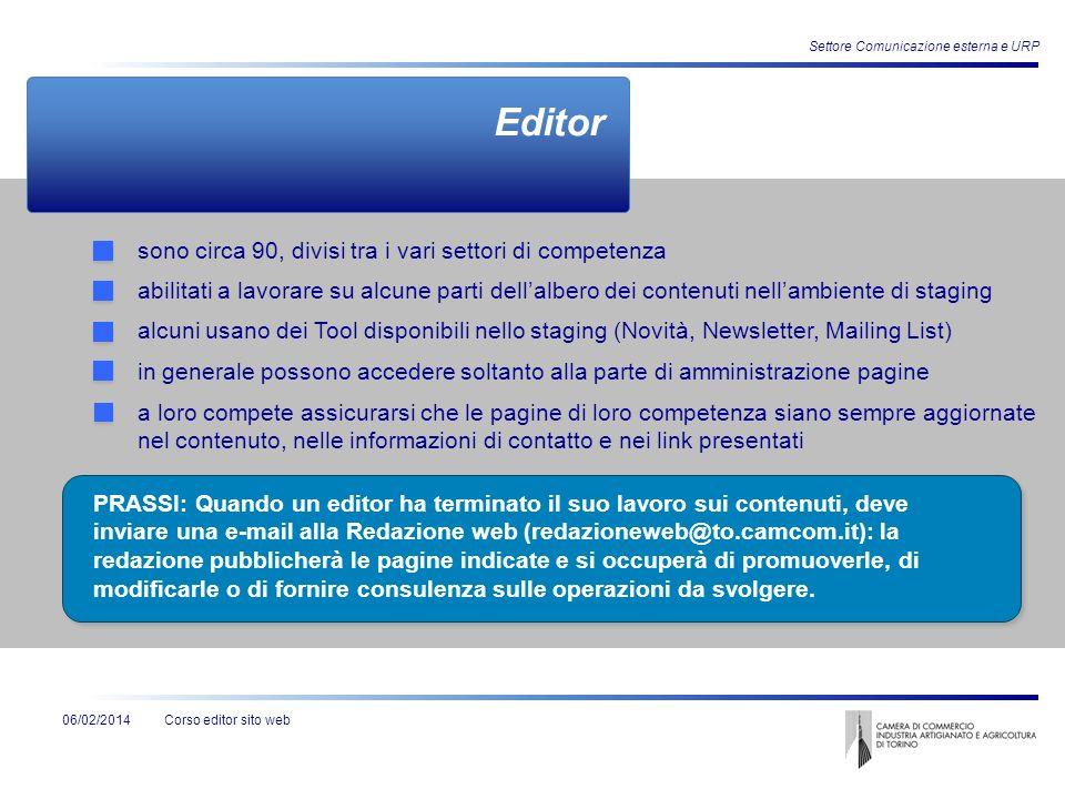 Corso editor sito web Settore Comunicazione esterna e URP 06/02/2014 Editor sono circa 90, divisi tra i vari settori di competenza abilitati a lavorar