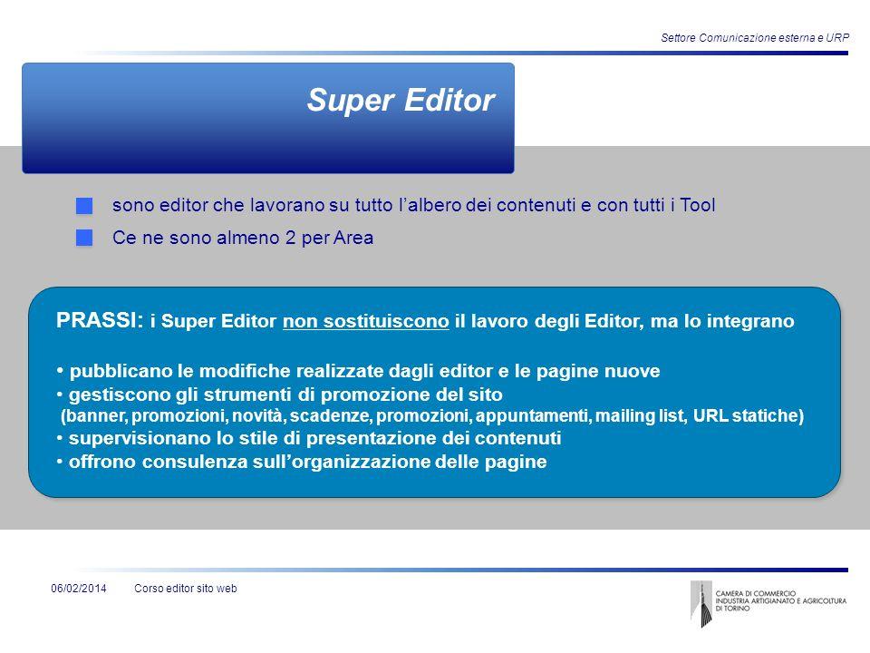 Corso editor sito web Settore Comunicazione esterna e URP 06/02/2014 Super User è lutente amministratore unico può aggiungere nuovi utenti (nuovi Editor o nuovi Super Editor) PRASSI: Per la Camera di commercio di Torino il Super User designato è Fabrizio Tarizzo.