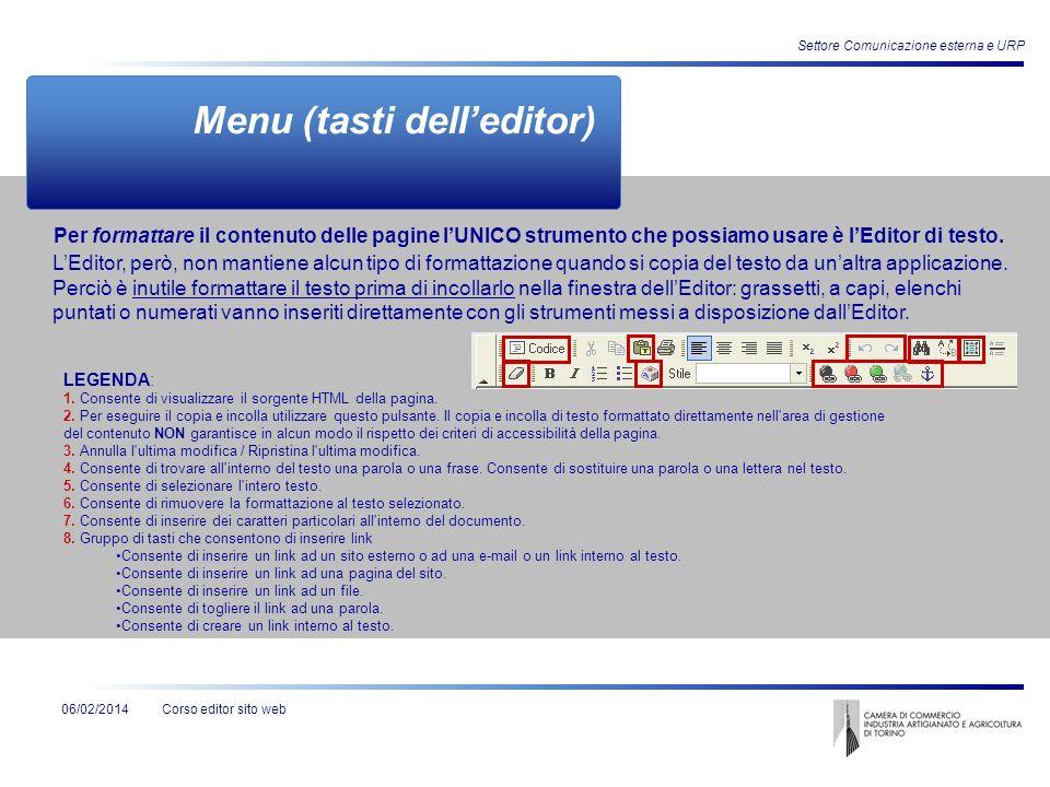 Corso editor sito web Settore Comunicazione esterna e URP 06/02/2014 Menu (tasti delleditor) LEditor, però, non mantiene alcun tipo di formattazione q