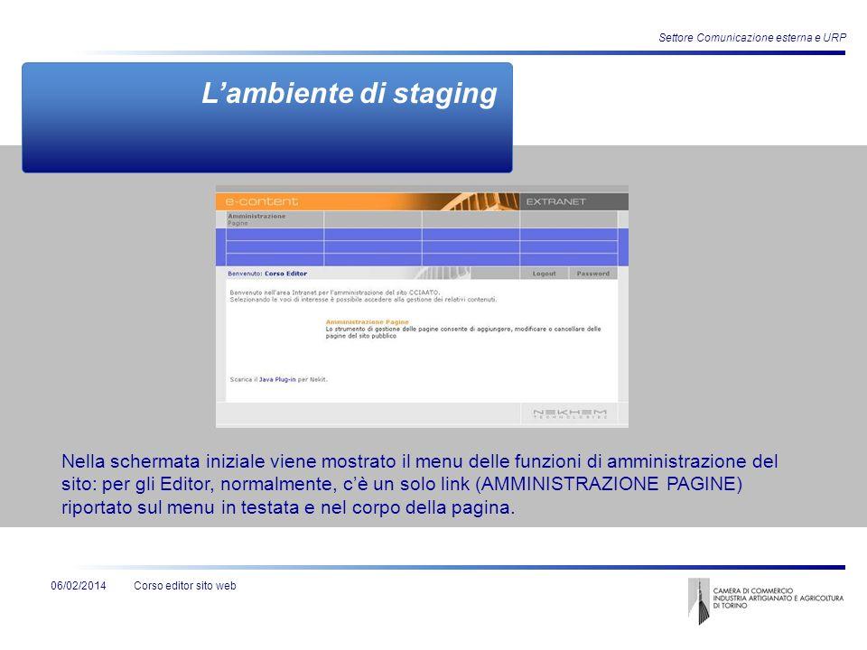 Corso editor sito web06/02/2014 Settore Comunicazione esterna e URP Nella schermata iniziale viene mostrato il menu delle funzioni di amministrazione
