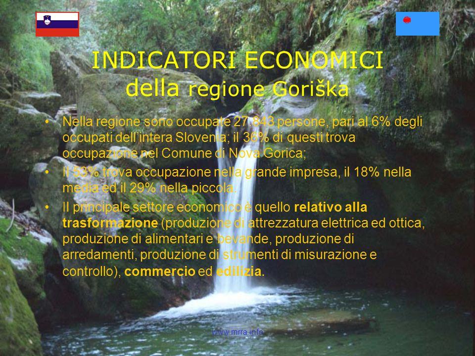 www.mrra.info Nella regione sono occupate 27.843 persone, pari al 6% degli occupati dellintera Slovenia; il 36% di questi trova occupazione nel Comune di Nova Gorica; Il 53% trova occupazione nella grande impresa, il 18% nella media ed il 29% nella piccola.