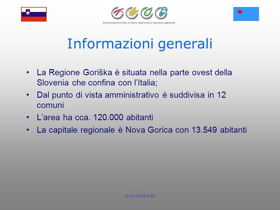 www.mrra.info Informazioni generali La Regione Goriška è situata nella parte ovest della Slovenia che confina con lItalia; Dal punto di vista amministrativo è suddivisa in 12 comuni Larea ha cca.
