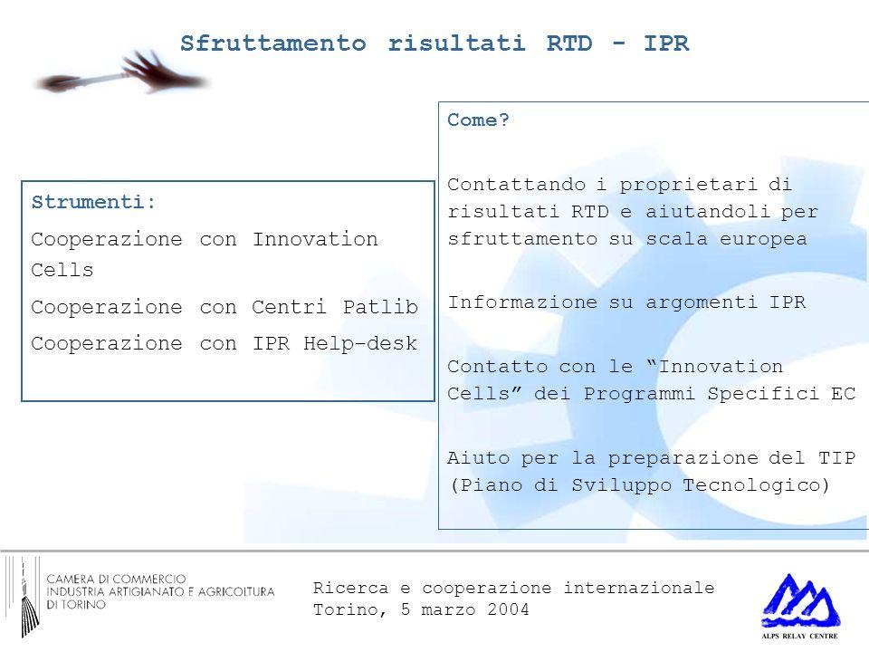 Ricerca e cooperazione internazionale Torino, 5 marzo 2004 Come? Contattando i proprietari di risultati RTD e aiutandoli per sfruttamento su scala eur