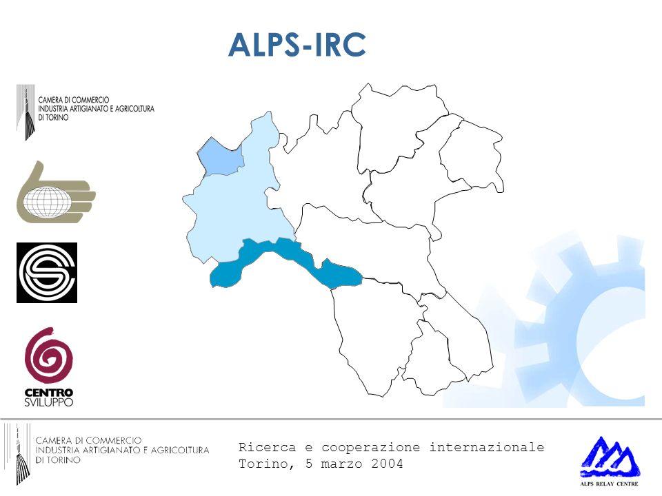 Ricerca e cooperazione internazionale Torino, 5 marzo 2004 ALPS-IRC