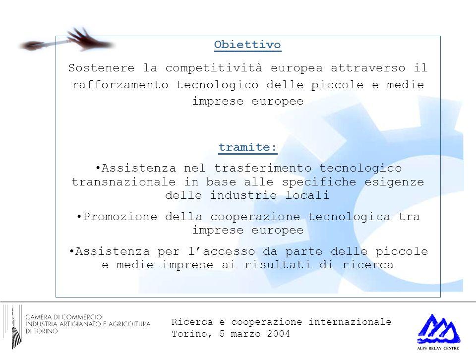 Ricerca e cooperazione internazionale Torino, 5 marzo 2004 Obiettivo Sostenere la competitività europea attraverso il rafforzamento tecnologico delle piccole e medie imprese europee tramite: Assistenza nel trasferimento tecnologico transnazionale in base alle specifiche esigenze delle industrie locali Promozione della cooperazione tecnologica tra imprese europee Assistenza per laccesso da parte delle piccole e medie imprese ai risultati di ricerca