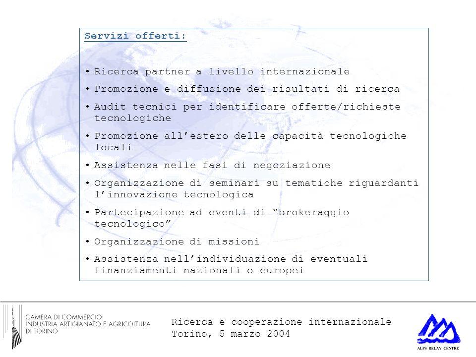 Ricerca e cooperazione internazionale Torino, 5 marzo 2004 Servizi offerti: Ricerca partner a livello internazionale Promozione e diffusione dei risul