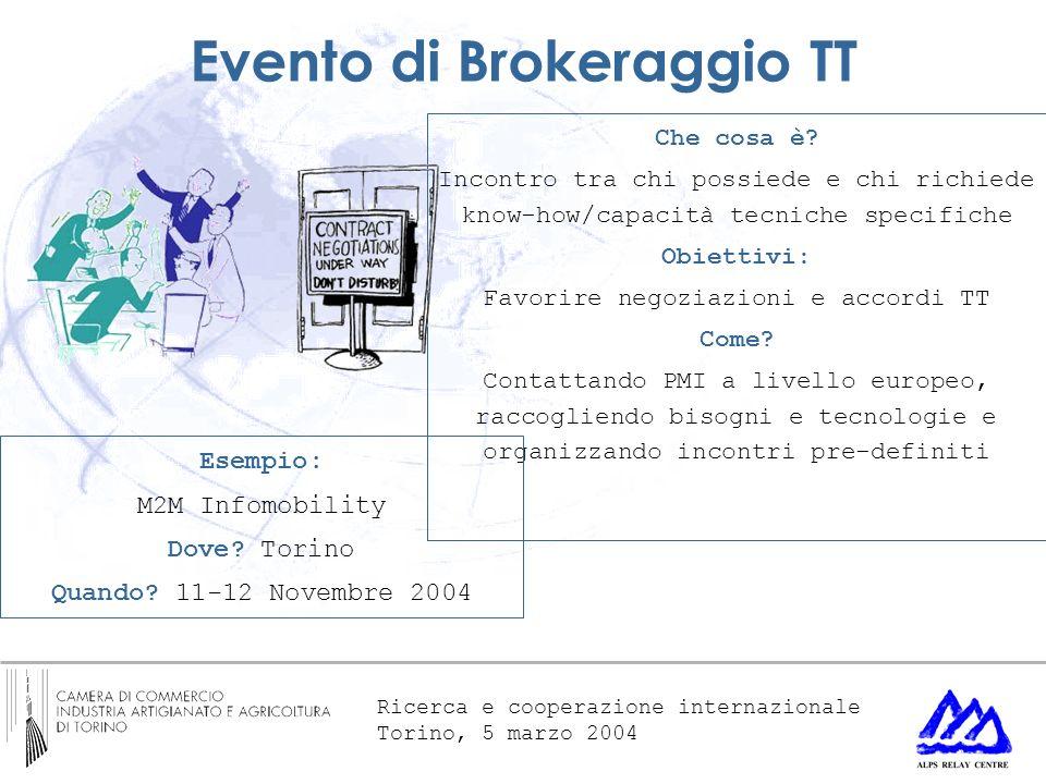 Ricerca e cooperazione internazionale Torino, 5 marzo 2004 Evento di Brokeraggio TT Che cosa è? Incontro tra chi possiede e chi richiede know-how/capa