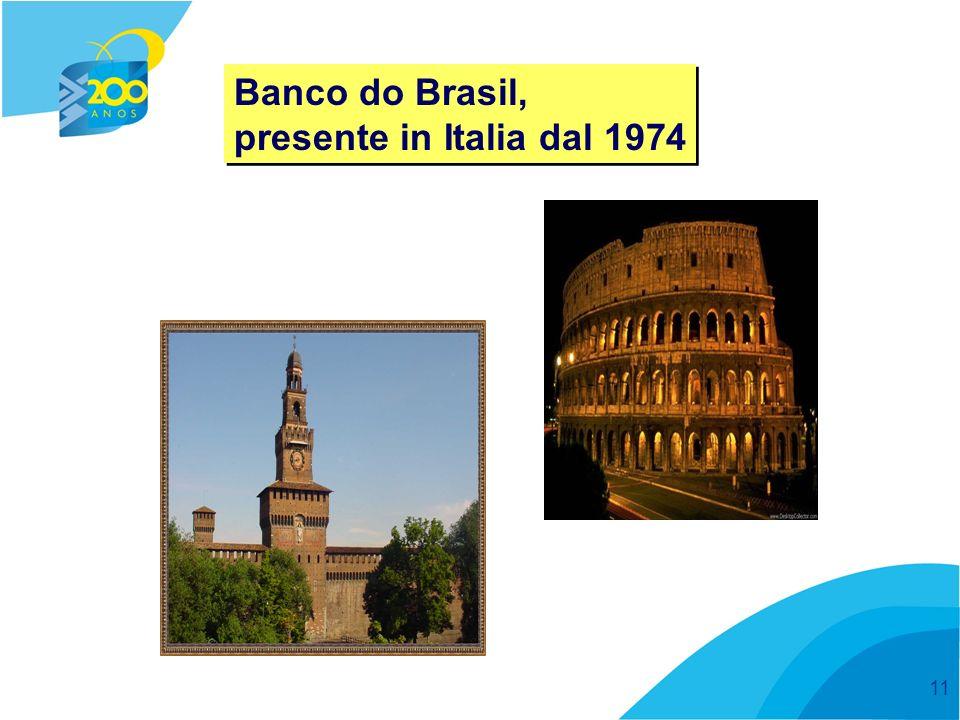 11 Banco do Brasil, presente in Italia dal 1974 Banco do Brasil, presente in Italia dal 1974