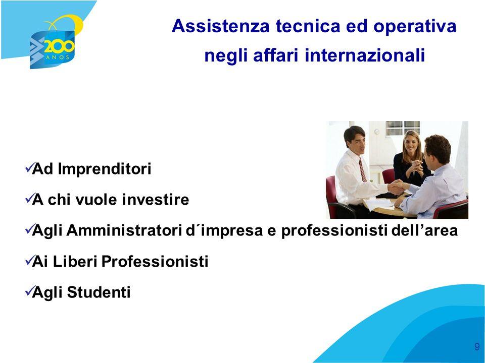 9 Assistenza tecnica ed operativa negli affari internazionali Ad Imprenditori A chi vuole investire Agli Amministratori d´impresa e professionisti dellarea Ai Liberi Professionisti Agli Studenti