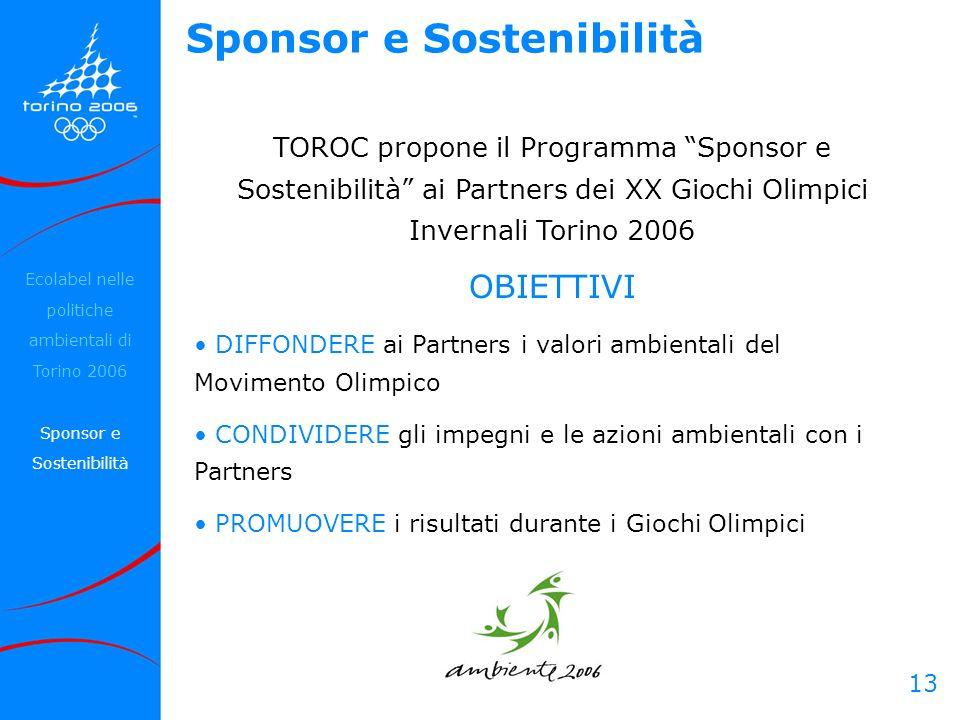 13 Sponsor e Sostenibilità TOROC propone il Programma Sponsor e Sostenibilità ai Partners dei XX Giochi Olimpici Invernali Torino 2006 OBIETTIVI DIFFO