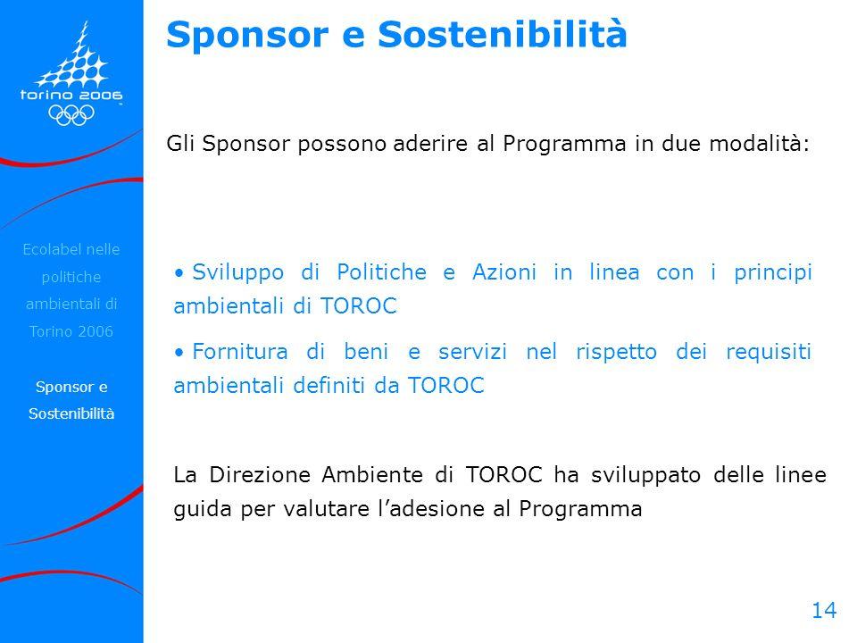 14 Sviluppo di Politiche e Azioni in linea con i principi ambientali di TOROC Fornitura di beni e servizi nel rispetto dei requisiti ambientali defini