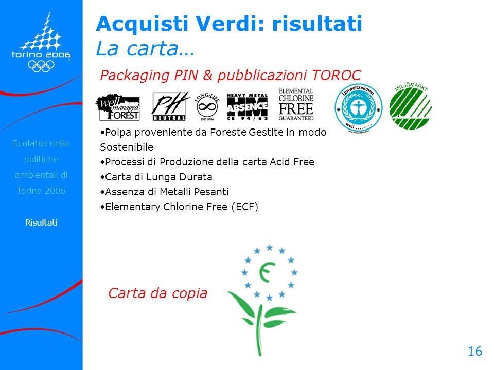 16 Acquisti Verdi: risultati La carta… Packaging PIN & pubblicazioni TOROC Carta da copia Polpa proveniente da Foreste Gestite in modo Sostenibile Pro