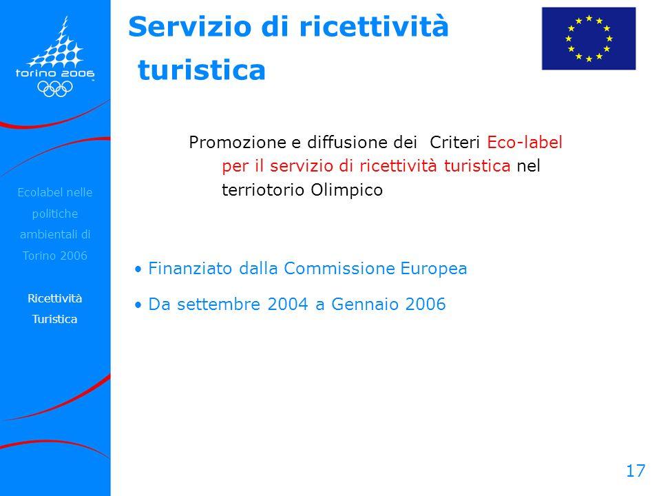 17 Promozione e diffusione dei Criteri Eco-label per il servizio di ricettività turistica nel terriotorio Olimpico Servizio di ricettività turistica E