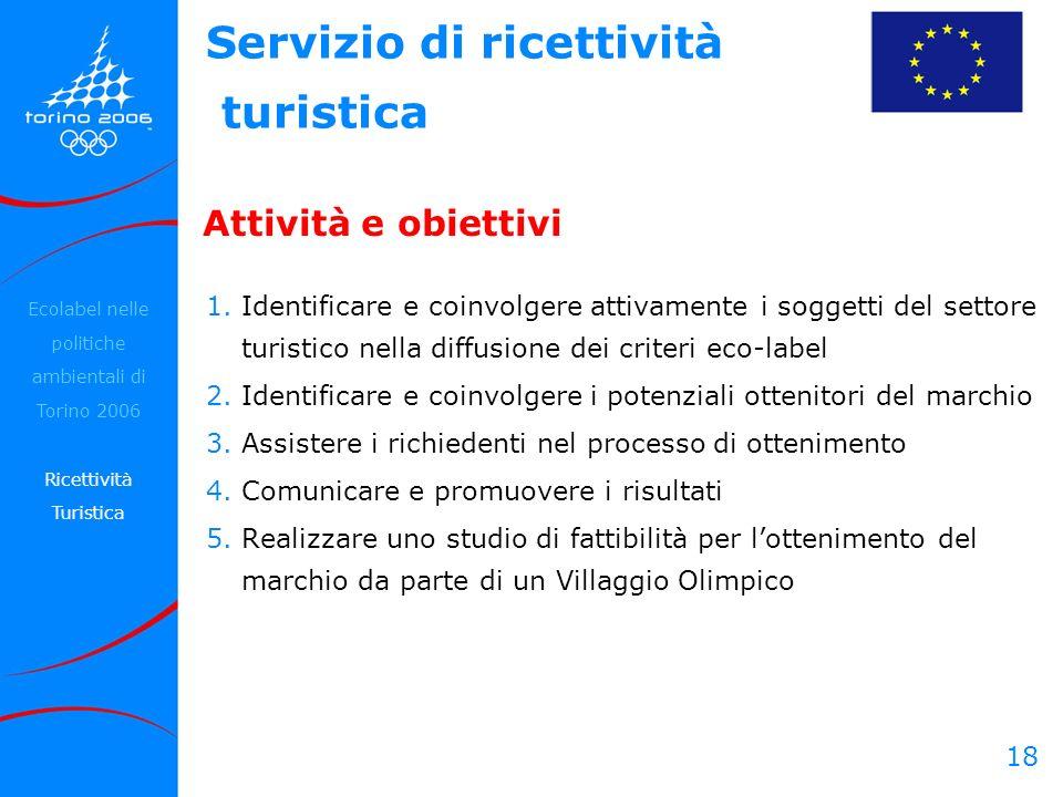 18 Attività e obiettivi 1.Identificare e coinvolgere attivamente i soggetti del settore turistico nella diffusione dei criteri eco-label 2.Identificar