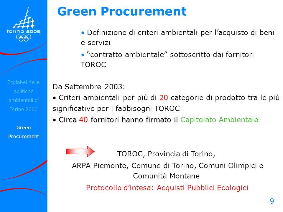 9 Green Procurement Definizione di criteri ambientali per lacquisto di beni e servizi contratto ambientale sottoscritto dai fornitori TOROC Da Settemb