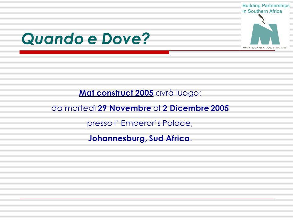 Quando e Dove? Mat construct 2005 avrà luogo: da martedì 29 Novembre al 2 Dicembre 2005 presso l Emperors Palace, Johannesburg, Sud Africa.