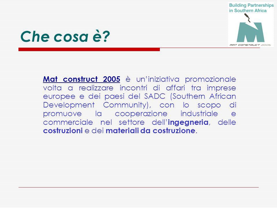 Che cosa è? Mat construct 2005 è uniniziativa promozionale volta a realizzare incontri di affari tra imprese europee e dei paesi del SADC (Southern Af