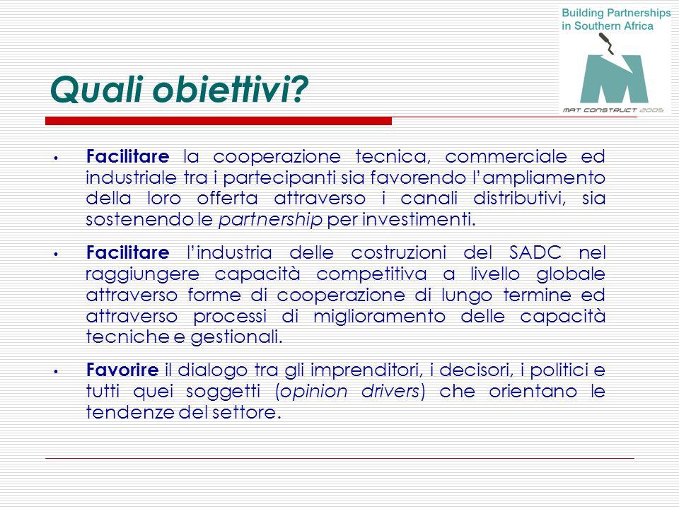 Quali obiettivi? Facilitare la cooperazione tecnica, commerciale ed industriale tra i partecipanti sia favorendo lampliamento della loro offerta attra