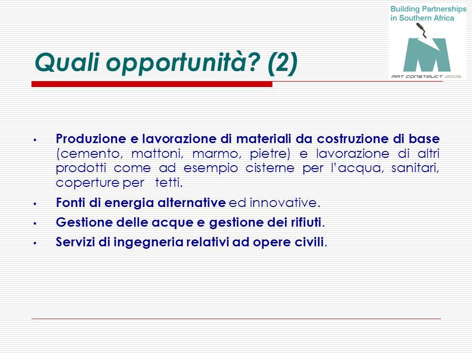 Quali opportunità? (2) Produzione e lavorazione di materiali da costruzione di base (cemento, mattoni, marmo, pietre) e lavorazione di altri prodotti