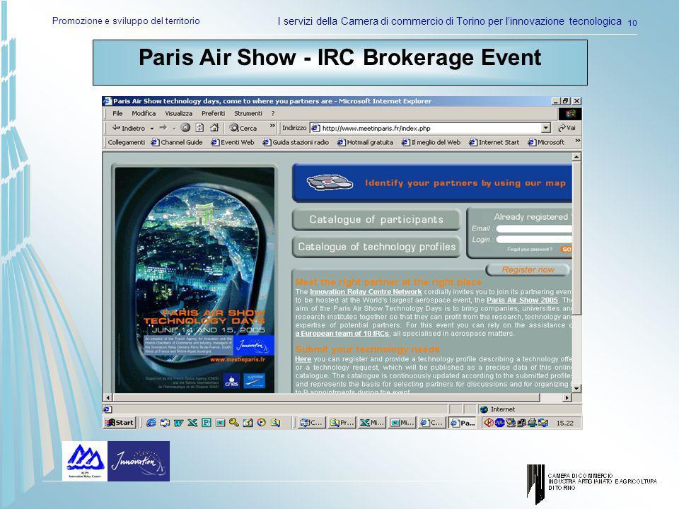 Promozione e sviluppo del territorio I servizi della Camera di commercio di Torino per linnovazione tecnologica 10 Paris Air Show - IRC Brokerage Even