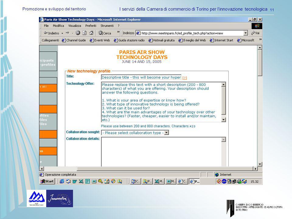 Promozione e sviluppo del territorio I servizi della Camera di commercio di Torino per linnovazione tecnologica 11