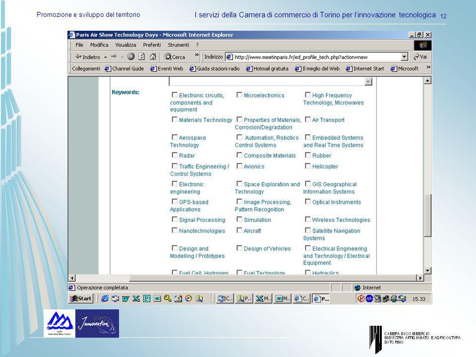 Promozione e sviluppo del territorio I servizi della Camera di commercio di Torino per linnovazione tecnologica 12