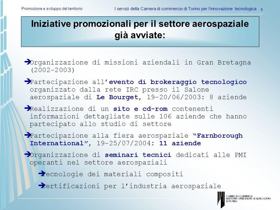 Promozione e sviluppo del territorio I servizi della Camera di commercio di Torino per linnovazione tecnologica 6 Organizzazione di missioni aziendali