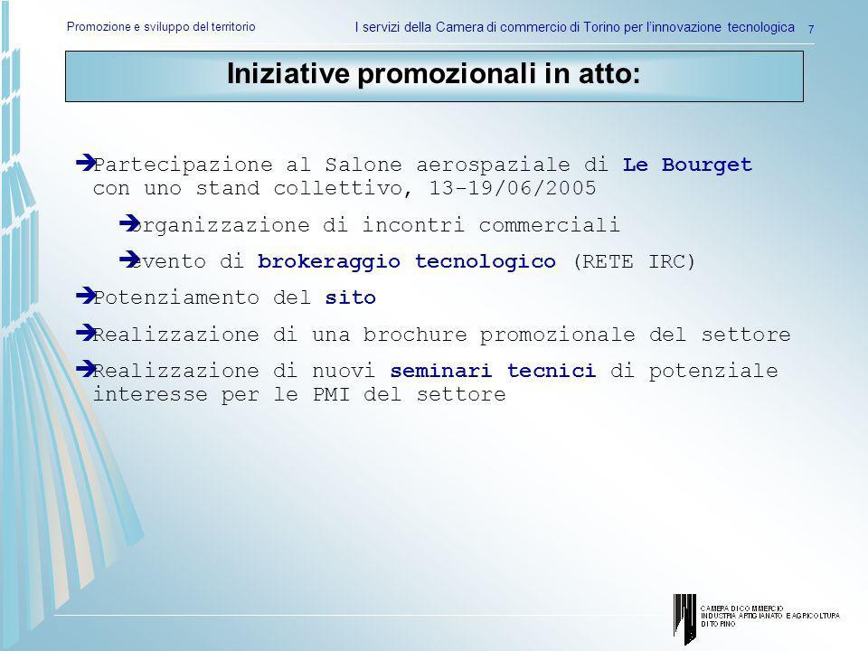 Promozione e sviluppo del territorio I servizi della Camera di commercio di Torino per linnovazione tecnologica 7 Partecipazione al Salone aerospazial