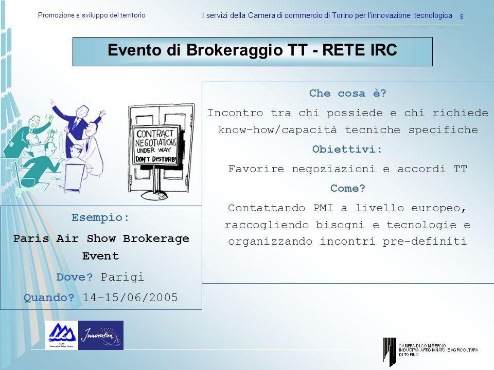 Promozione e sviluppo del territorio I servizi della Camera di commercio di Torino per linnovazione tecnologica 8 Evento di Brokeraggio TT - RETE IRC