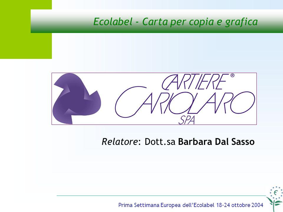 Prima Settimana Europea dellEcolabel 18-24 ottobre 2004 Ecolabel - Carta per copia e grafica Relatore: Dott.sa Barbara Dal Sasso