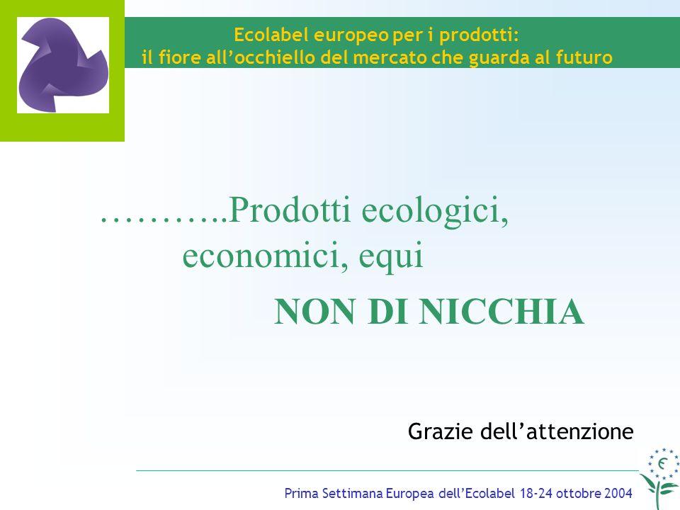 Prima Settimana Europea dellEcolabel 18-24 ottobre 2004 Ecolabel europeo per i prodotti: il fiore allocchiello del mercato che guarda al futuro Grazie dellattenzione ………..Prodotti ecologici, economici, equi NON DI NICCHIA