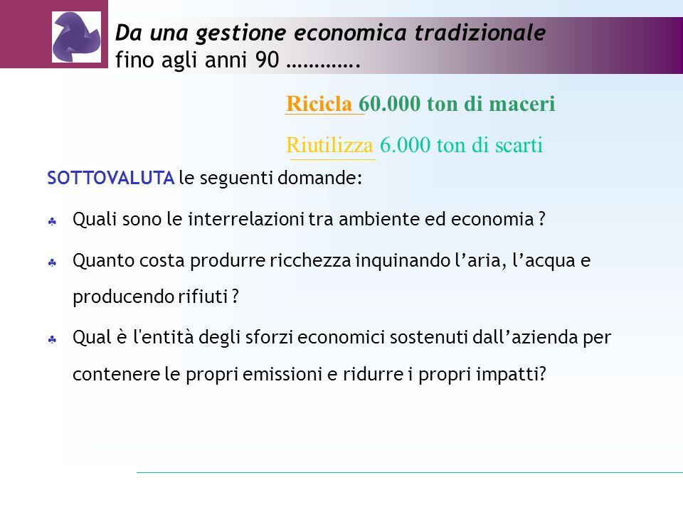 Da una gestione economica tradizionale fino agli anni 90 ………….