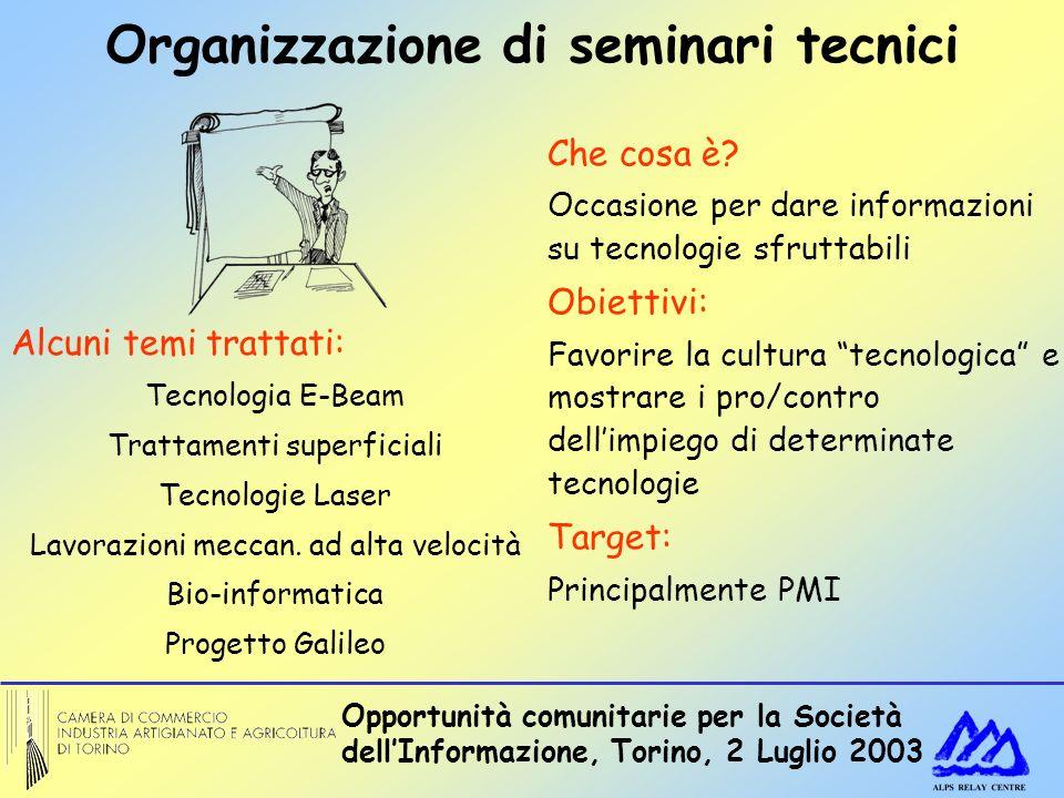 Opportunità comunitarie per la Società dellInformazione, Torino, 2 Luglio 2003 Organizzazione di seminari tecnici Che cosa è? Occasione per dare infor