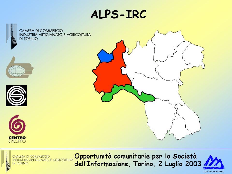 Opportunità comunitarie per la Società dellInformazione, Torino, 2 Luglio 2003 ALPS-IRC