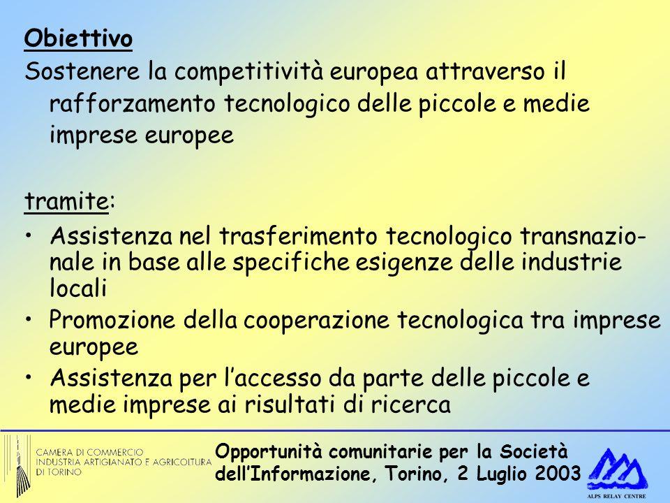 Opportunità comunitarie per la Società dellInformazione, Torino, 2 Luglio 2003 Obiettivo Sostenere la competitività europea attraverso il rafforzamento tecnologico delle piccole e medie imprese europee tramite: Assistenza nel trasferimento tecnologico transnazio- nale in base alle specifiche esigenze delle industrie locali Promozione della cooperazione tecnologica tra imprese europee Assistenza per laccesso da parte delle piccole e medie imprese ai risultati di ricerca
